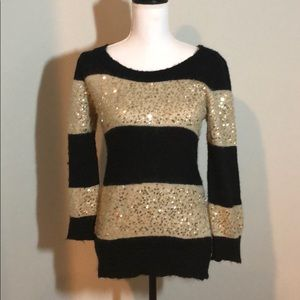 💞 Gold stripe sweater holiday sequin